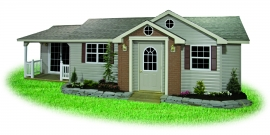 pine creek structures custom shed with porch, dormers, door upgrades, and extra windows