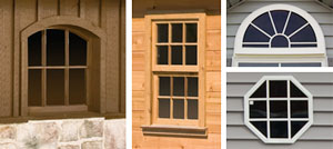 Pine Creek Structures window and shutter options including wood windows, arch top wood windows, round top window, and octagon window